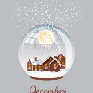 Village city covered in blizzard snow falling from top. Bright moon in the sky. Winter vector - Starpik Stock