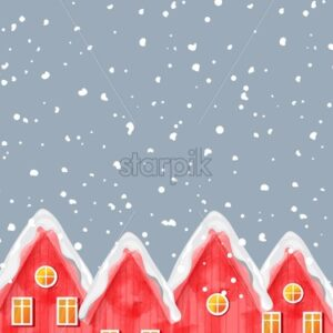 Watercolor winter red houses covered in blizzard snow. Christmas greeting card vector with place for text - Starpik Stock