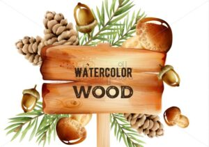 Watercolor wooden sign with forest decorations on background. Pine cone, mushrooms, nuts and leaves. Winter vector - Starpik Stock