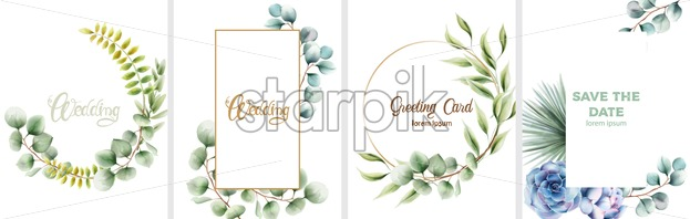 Wedding set of invitation cards with leaves and flowers ornaments. Vector - Starpik Stock