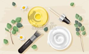 White cream and yellow tincture oil. Brush and dropper cosmetic set. Chamomile and green leaves. Natural Herbs vector - Starpik Stock