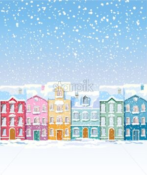Winter colorful city buildings covered in snow blizzard. Vibrant colors. Front view. Vector - Starpik Stock