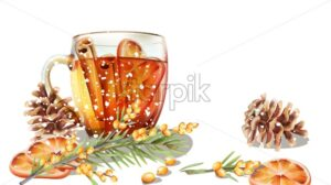 Winter cup of tea with cinnamon and orange slices. Conifer cone and fir tree leaves. Cold season beverages vector - Starpik Stock