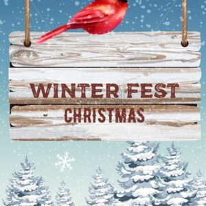 Winter fest hanging wooden sign. Red bird sitting on it. Blizzard with pine trees covered in snow. Vector - Starpik Stock