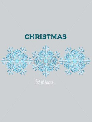 Winter let it snow composition with big blue snowflakes. Gray isolated background. Christmas holiday vector - Starpik Stock