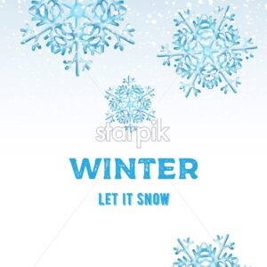 Winter let it snow composition with big blue snowflakes. White background. Christmas holiday vector - Starpik Stock