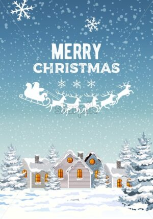 Winter merry christmas composition with pine trees and white houses covered in snow. Santa with reindeer sledge. Blizzard. Vector - Starpik Stock