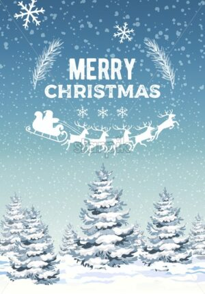 Winter merry christmas composition with pine trees covered in snow. Santa with reindeer sledge. Blizzard. Vector - Starpik Stock