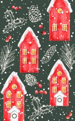 Winter red houses covered in snow with sketch winter ornaments. Conifer cone, berries and fir tree leaves. Vector - Starpik Stock