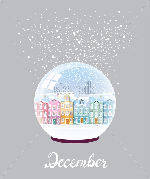 Winter snow ball with colorful city buildings covered in blizzard. Front view December vector - Starpik Stock