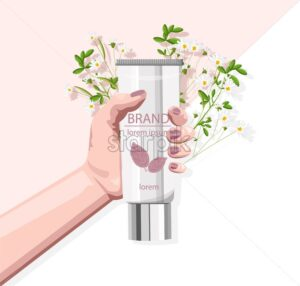 Woman hand holding organic cosmetic product tube. Flowers on background. Natural healthcare vector - Starpik Stock