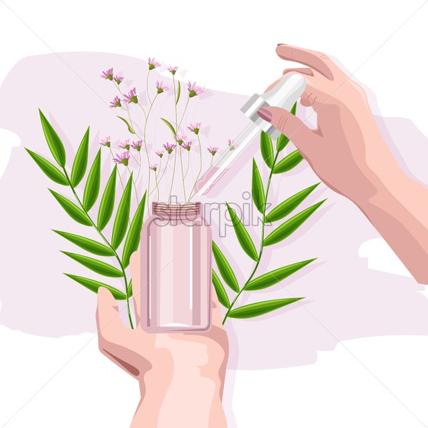 Woman hand holding organic cosmetic product. Glass with dropper. Flowers and green leaves on background. Natural healthcare vector - Starpik Stock