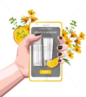 Woman hand holding smart phone with organic cosmetic products site. Flowers and orange slices on background. Natural healthcare vector - Starpik Stock