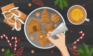 Woman hands drawing on gingerbread cookies. Gifts, berries decorations and coffee cup with orange slice on wooden table. Holiday vector - Starpik Stock