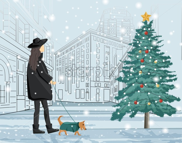 Woman in black clothes walking the dog in the city. Christmas season. Merry Christmas fir tree with holiday ornaments on foreground. Holiday vector - Starpik Stock
