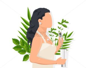 Woman with dark hair using cosmetic brush. Green leaves on background. Natural healthcare idea vector - Starpik Stock