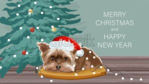 Yorkshire Terrier dog sitting on a wooden table. Christmas fir tree with baubles and fairy lights. Winter holidays vector - Starpik Stock
