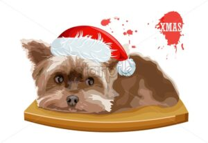 Yorkshire Terrier dog sitting on a wooden table. Christmas holiday vector - Starpik Stock