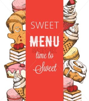 Bakery house shop menu template with various sweets. Croissant, cake, cupcake, macaron. Place for text. Line art colorful vector - Starpik Stock