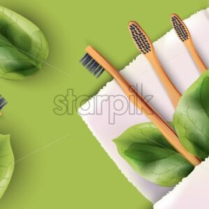 Bamboo toothbrushes set with green leaves on white napkin. Colorful background. Ecology products vector - Starpik Stock