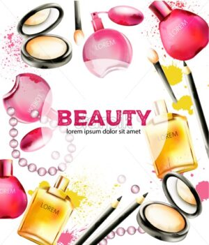 Beauty cosmetic products with perfumes, face powder, brushes and beads. Colorful splashes decorations. Watercolor vector - Starpik Stock
