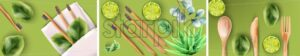 Big set of bamboo toothbrushes and eating cutlery with green leaves on white napkin. Lime, spinach and aloe vera plant decorations. Colorful background. Ecology products vector - Starpik Stock