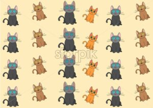 Big set of cartoon cats. Ginger, brown and black color. Pets Vector - Starpik Stock