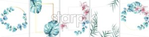 Big set of floral invitation cards with wreath and square frames. Flower leaves. Place for text. Watercolor vector - Starpik Stock