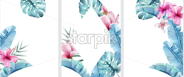 Big set of floral invitation cards with wreath frames. Palm blue and rose leaves. Place for text. Watercolor vector - Starpik Stock