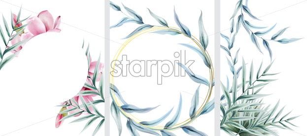 Big set of floral invitation cards with wreath frames. Palm green leaves. Place for text. Watercolor vector - Starpik Stock