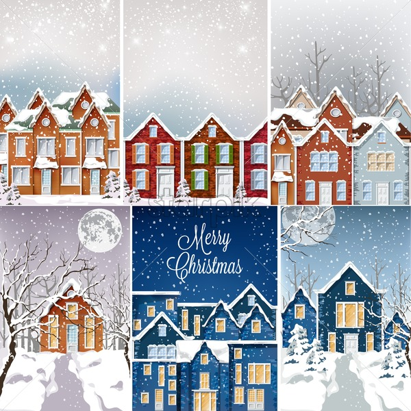 Big set of houses covered in snow in daylight and night. Merry christmas and moon. Holiday vector - Starpik Stock