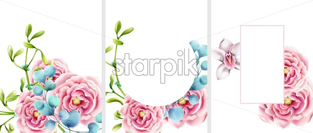 Big set of invitation cards decorated with garden roses and green leaves. Place for text - Starpik Stock