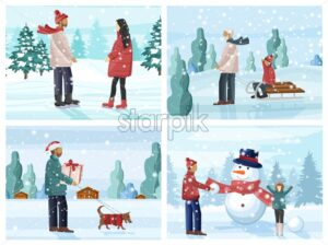 Big set of people having fun in winter season. Building snowman, walking the dog, ice skating, sledging, playing with snowballs. Holiday vector - Starpik Stock