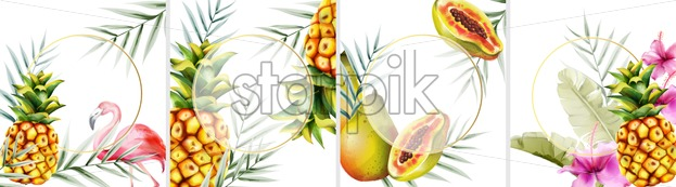 Big set of tropical invitation cards with flamingo, pineapple, papaya fruits and leaves. Place for text - Starpik Stock