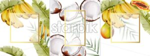 Big set of watercolor composition with bananas, papaya pear and coconut. Vector - Starpik Stock