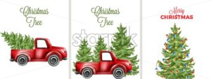 Big set with decorated christmas tree and red car transporting. Place for text - Starpik Stock