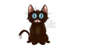 Cartoon brown cat with big blue eyes. Vector - Starpik Stock