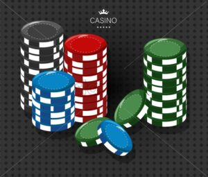 Casino chips of various colors. Red, black, green and blue. Dark pattern on background. Vector - Starpik Stock