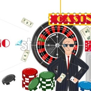 Casino concept with a rich man with money winning jackpot and roulette game. Money and diamonds flying. Vector - Starpik Stock