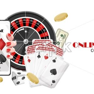 Casino online game with woman hands holding mobile phone, winning jackpot and roulette game. Coins and dice flying. Vector - Starpik Stock