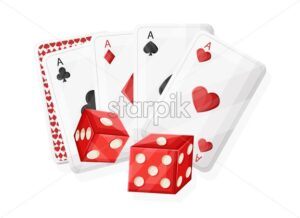 Casino red rolling dices and playing cards. Vector - Starpik Stock