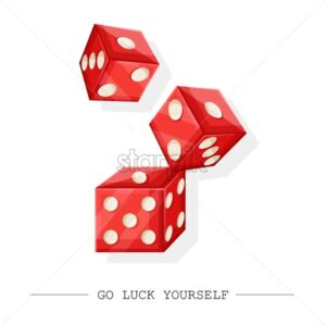 Casino red rolling dices. Go luck yourself text. Vector - Starpik Stock