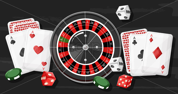 Casino roulette composition with rolling dices, playing cards and chips on dark wooden background. Vector - Starpik Stock
