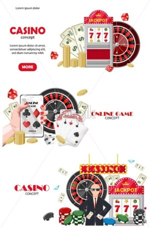 Casino set of site template concepts. Online game on mobile phone, rich people. Playing cards, slot machine, dices, chips. Vector - Starpik Stock