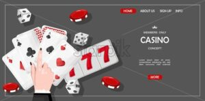 Casino site template concept for members only. Playing cards, dices, chips. Vector - Starpik Stock