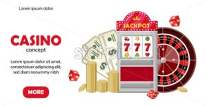 Casino site template concept. Triple seven jackpot on slot machine, roulette, coins and dollars. Playing cards, dices, chips. Vector - Starpik Stock