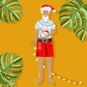 Christmas santa drinking coconut cocktail on warm holidays. Green leaves in the frame. Warm background. Vector - Starpik Stock