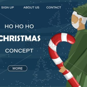 Christmas site concept with green elf holding lollipop. Blue background with line art holiday drawings. Vector - Starpik Stock
