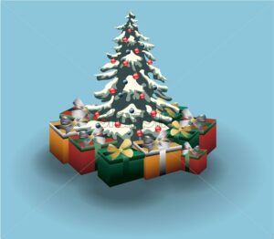 Christmas tree decorated with red and blue baubles. Colorful gift boxes nearby. Winter holidays vector. - Starpik Stock