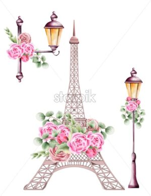 City lamps and eiffel tower decorated with rose flowers and green leaves. Watercolor vector - Starpik Stock